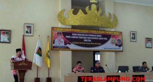 Walikota Herman HN pada acara soaialisasi dan pengambilan sumpah panitia ajudikasi Program Pendaftaran Tanah Sistematis (PTSL), di Gedung Semergou Pemkot Bandarlampung, Jumat, 1 Februari 2019.