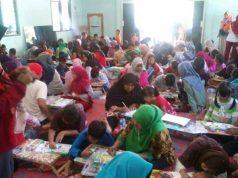 Gebyar Lomba Mewarnai di Balai Kampung Desa Adijaya, Terbanggi Besar, Lampung Tengah, Minggu, 24 Maret 2019.