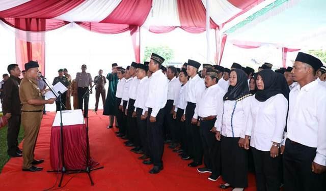 Pengukuhan pengurus BPD se-Kecamatan Palas, Lampung Selatan, Senin, 11 Maret 2019.
