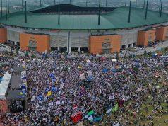 Foto aerial suasana kampanye terbuka Calon Presiden nomor urut 02, Prabowo Subianto di kawasan Stadion Pakansari, Cibinong, Bogor, Jumat, 29 Maret 2019. ANTARA/Sigid Kurniawan