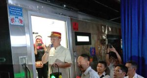 Peresmian pengoperasian Kereta Api Sriwijaya Baru Tanjungkarang-Kertapati, Minggu petang, 26 Mei 2019.