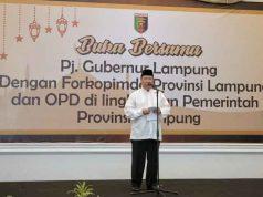 Pj Gubernur Lamoung, Boytenjuri, pada acara buka bersama Forkopimda dan jajaran Pemprov Lampung di Mahan Agung, Senin, 3 Juni 2019.