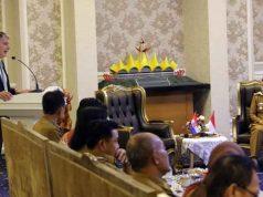 Duta Besar Kroasia untuk Indonesia, Nebosja Koharovic, saat menyampaikan sambutan di Pemprov Lampung, Senin (24/6/2019).