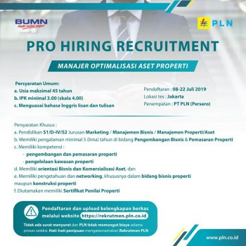 Lowongan Kerja di PT PLN, Pendaftaran Hingga 22 Juli 2019
