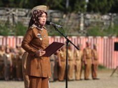 Pada upacara di Pemprov Lampung, Senin, 29 Juli 2019, Wagub Lampung Chusnunia Chalim menyampaikan duka cita kepada keluarga korban tabrakan maut di Tol Cipali,.