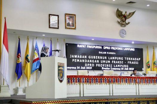 Wagub Lampung Sampaikan Jawaban Fraksi-Fraksi Terkait Raperda LPJ APBD 2018