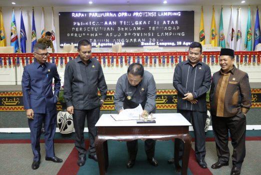 Gubernur Arinal dan Ketua DPRD Tanda Tangani APBD-P Lampung 2019