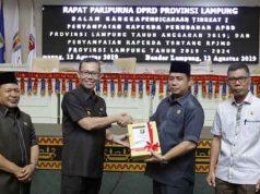Penyeraghan dokumen RAPBDP dan RPJMD Lampung 2019-2024.