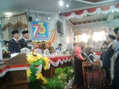 Pengambilan sumpah para anggota DPRD Lampung Utara periode 2019-2024, Senin, 19 Agustus 2019.