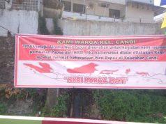 Spanduk yang di pasang di depan asrama West Papua Semarang – Jubi/is