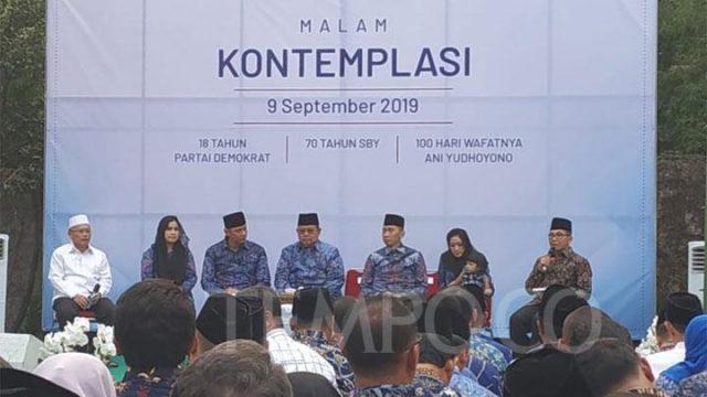 Keluarga mantan Presiden Susilo Bambang Yudhoyono menggelar serangkaian acara untuk memeringati HUT ke-70 SBY, HUT ke-18 Partai Demokrat, dan 100 hari meninggalnya Kristiani Herrawati di Pendopo Puri Cikeas, Bogor, Jawa Barat, Senin, 9 September 2019. TEMPO/Budiarti Utami Putri.