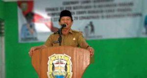Walikota Herman HN memberikan sambutan di acara lomba kebersihan se-Kecamatan Panjang.