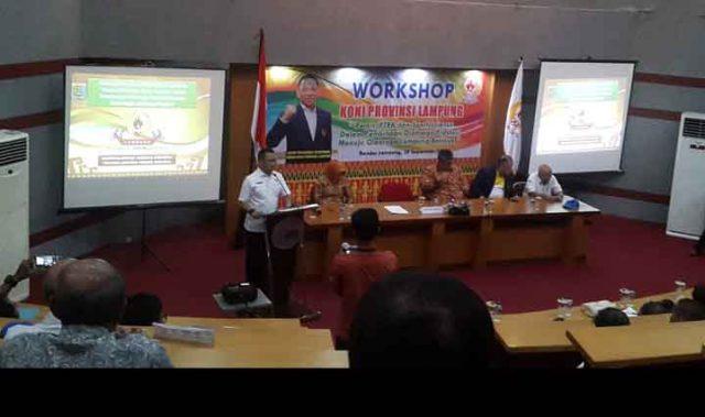 Workshop KONI Provinsi Lampung, di Auditorium Gedung Pasacasarjana Universitas Bandar Lampung (UBL), Sabtu (28/9).