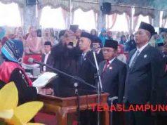 Pengambilan sumpah empat unsur pimpinan DPRD Lampung Utara, Senin, 14 Oktober 2019.