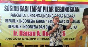 Anggota MPR RI Hanan Rozak dalam sosialisasi empat pilar di Tulangbawang, Sabtu (30/11/2019).