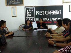 Kepala Divisi Ekonomi Sosial Budaya (Ekosob) LBH, Suma Indra Jarwadi menjelaskan kepada media rencana LBH akan menggugat Pemprov Lampung.