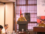 Asisten Administrasi Umum Pemprov Lampung, Chandri, saat membuka Koordinasi Percepatan Pembentukan Lembaga / Perusahaan Penjaminan Kredit Daerah (PPKD) di Provinsi Lampung, di Hotel Grand Anugerah, Bandar Lampung, Senin (2/12/2019).