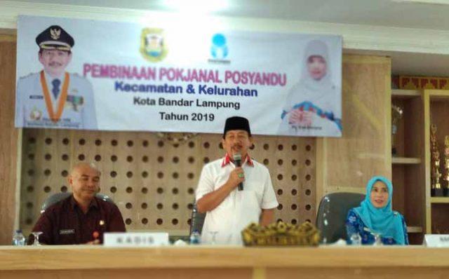 Walikota Herman HN ketika membuka acara pembinaan Pokjanal Posyandu kecamatan dan kelurahan se-Kota Bandarlampung.
