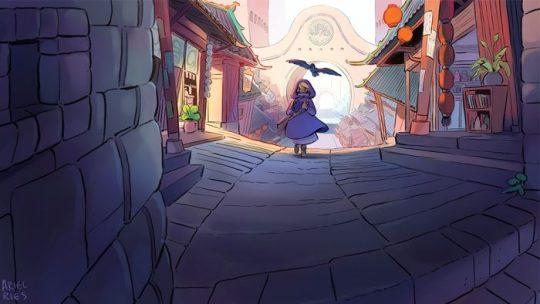 Desain kerajaan penyihir Hyalin dalam komik 'Witchy' terinspirasi dari warisan Asia Tenggara dan Islami yang dimiliki Ariel. (Supplied: Ariel Ries)