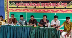 Monitoring Komisi I DPRD Lampung Selatan mengenai penggunaan Dana Desa (DD) dan BUMDes tahun anggaran 2019, di Aula Kantor Kecamatan Sidomulyo, Lampung Seltan, Jumat (20/12/2019).