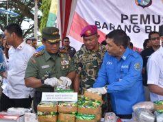 Pemusnahan barang bukti narkoba oleh Kapolda Lampung, Kepala BNN Lampung, Gubernur Lampung, dan Danrem Garuda Hitam, Rabu, 18 Desember 2019.