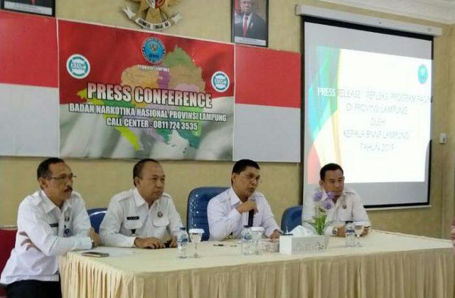 Kepala BNN Lampung Brigjen Pol Ery Nursatary menjelaskan hasil pengungkapan kasus narkotika yang ditangani BNN Lampung sepanjang tahun 2019.