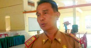 Kepala Dinas Pemberdayaan Masyarakat Desa (DPMD) Lamsel, Rohadian saat melakukan sosialisasi Perbup tentang pedoman teknis penyusunan pelaksanaan dan pelaporan APBDes di GSG Betik Hati Sidomulyo, Selasa (14/1/2020).