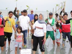 Wagub Chusnunia Chalim menanam pohon mangrove di Pantai Mutiara Lampung Timur, Kamis sore (30/1/2020),