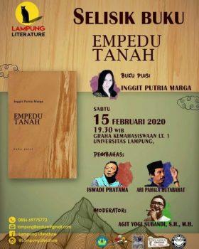 """Lampung Literature akan Gelar Selisik Buku """"Empedu Tanah"""" Karya Inggit Putria Marga"""