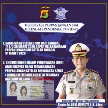 Dukung Cegah Covid-19, Polres Tanggamus Beri Dispensasi Perpanjangan SIM