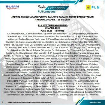 Ini Jadwal Pemadaman Listrik di Lampung 29 April Hingga 5 Mei 2020
