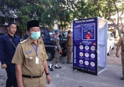 Asosiasi Pengusaha Laundry Lampung Serahkan Bantuan Bilik Disinfaktan