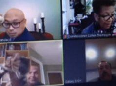 Chris Platzer (kiri bawah) sedang melakukan rapat via Zoom dengan rekan-rekannya.[CNN/Sky News]