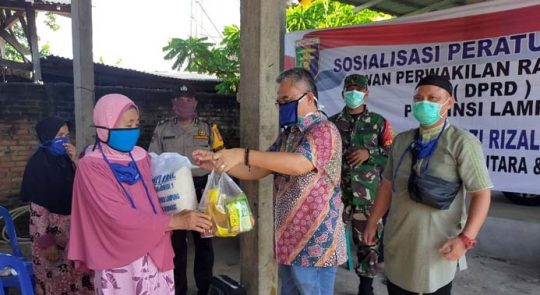 Di Tengah Pandemi, Ketua Komisi I DPRD Lampung Sosialisasikan Perda Rembug Desa