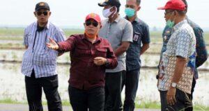 Bupati Lampung Selatan Nanang Ermanto meninjau tanggul yang jebol di Desa Bandar Agung, Kecamatan Sragi, Kamis pagi (25/6/2020).
