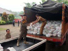Paket sembako siap didistribusikan ke empat kecamatan di Lampung Selatan, Senin (29/6/2020).