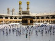 Para jemaah haji di sekitar Kabah saat pelaksanan puncak ibadah Haji, Jumat, di Mekkah, Jumat, 31 Juli 2020. (Foto: AFP)