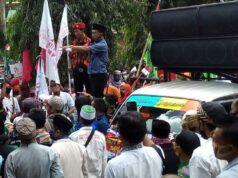 Suasana demonstrasi menuntut pencabutan RUU HIP yang dilakukan oleh gabungan elemen masyarakat Lampung Utara, Rabu (8/7/2020).