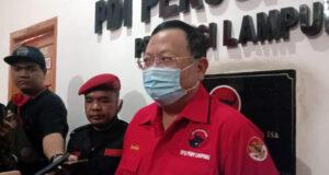 Ketua DPD PDIP Lampung, Sudin, Jumat (24/7/2020), menjelaskan soal rekomendasi DPP PDIP untuk bakal calon yang akan diusung pada pilkada serentak, Desember 2020.
