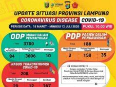 Data kasus Covid-19 di Lampung sampai dengan 12 Juli 2020.