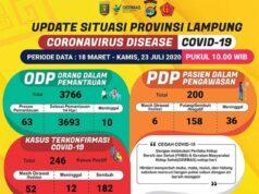 Data kasus Covid-19 di Lampung sampai dengan 23 Juli 2020.