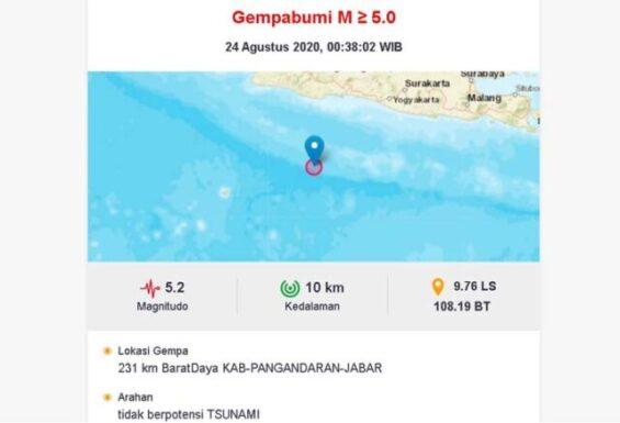 Gempa Bermagnitudo 5,2 Guncang Pangandaran