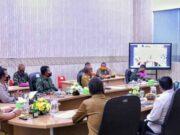 Webinar sosialisasi disiplin protokol kesehatan terkait Covid-19, di Ruang Command Center Dinas Kominfotik Provinsi Lampung, Bandarlampung, Senin (3/8/2020). Foto: Pemprov Lampung