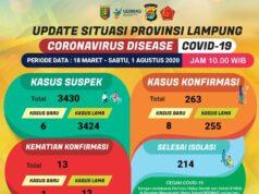 Data kasus Covid-19 di Lampung pada 1 Agustus 2020.