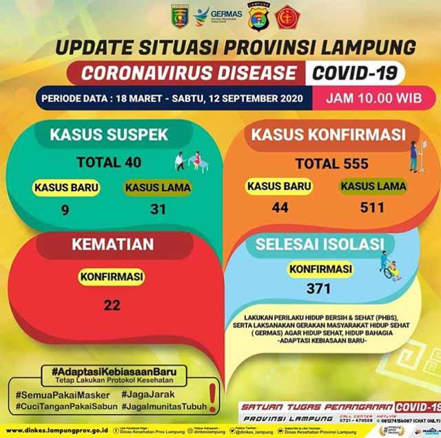 'Rekor Baru' Tambah 44 Kasus, Pasien Covid-19 di Lampung Jadi 555 Orang