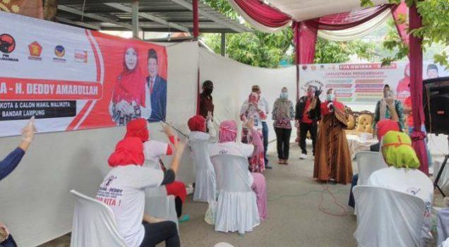Eva Dwiana kampanye di Panjang Utara, Rabu (30/9/2020).