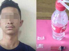 Tersangka AA(27) dan barang bukti yang diamankan petugas Unit Reskrim Polsek Natar.