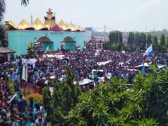 Aksi ribuan pengunjuk rasa di Lapangan Korpri Kompleks Kantor Pemprov - Kantor DPRD Lampung, Rabu (7/10/2020).