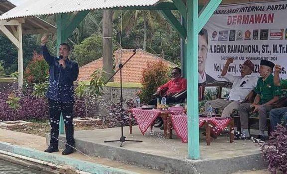 Dendi Ramadhona pada acara konsolidasi internal partai pendukung Dendi Ramadhona-Marzuki, di Way Ratai, Kamis (8/10/2020).