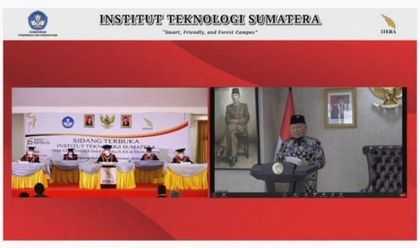 Ketua DPD RI LaNyalla Mattalittimenyampaikan orasi ilmiah secara daring dalam rangka dies natalis ke-6 Itera, Selasa (6/10/2020).